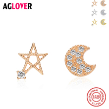 AGLOVER Brand 925 Sterling Silver Star Moon Stud Earrings With Austrian Zircon For Women High Quality Fashion Girl Gift Jewelry