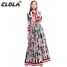 CLOLA Floral Women Long Dress Autumn Plus Size 2017 Pleated Long Sleeve Vestidos Bow Stand Vintage Dresses High Quality