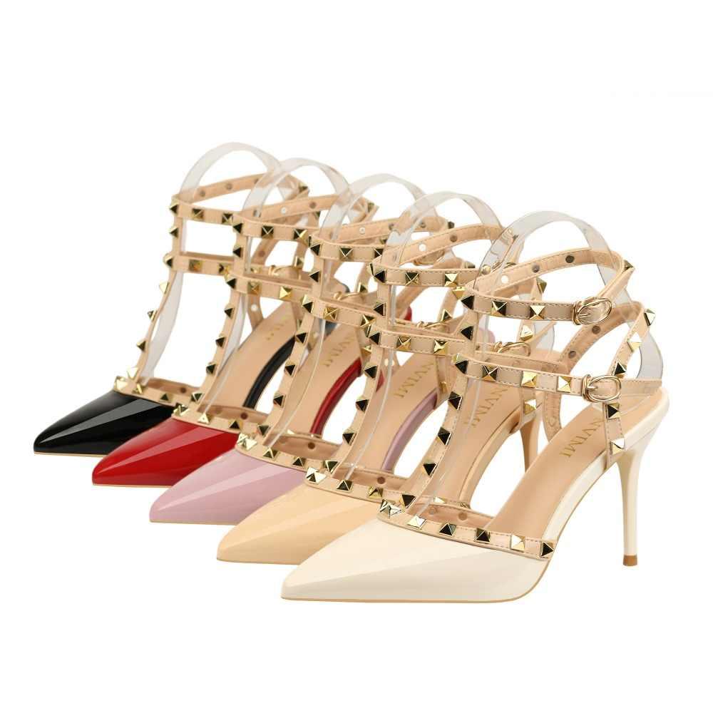 Schuhe Frauen 2020 high heels Weibliche Sommer schuhe Niet käfig-wie Ankle strap Sexy pumps Sandalen partei frauen mit heels damen