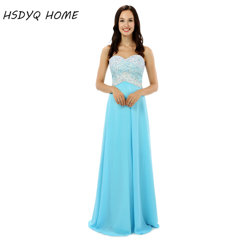 2017 A-Line Beading chiffon   prom     dresses   Long   dress   summer fashion sleeveless gowns