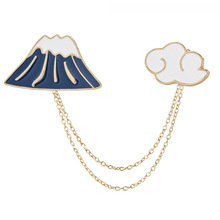 2017 Brooches Metal Alloy Color Drip Clothing Accessories Brooch Snow On Mount Fuji Cloud Combination Badges