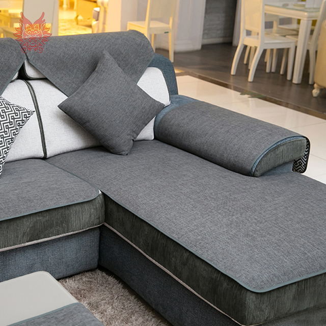US $11.77 45% OFF|Summer spring grey beige cotton black linen sectional  sofa cover Europe style double faced fundas de sofa couch covers SP5265-in  ...