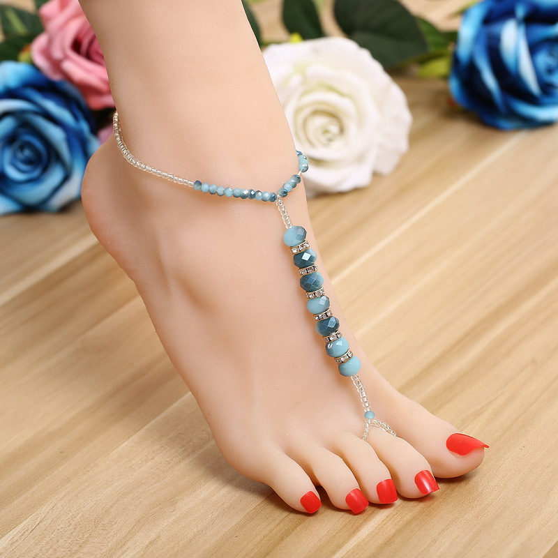 Top Quality Made with Fashion Elements Crystal Charm 25cm Anklets Bracelet Women Mujer DIY Fine Foot Jewelry Barefoot Sandals