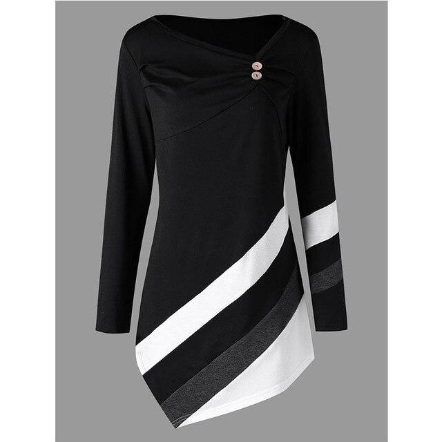 c3637c30add 2018 New Plus Size Striped Asymmtrical Tunic Top T-Shirt Women Skew Collar  Long Sleeve