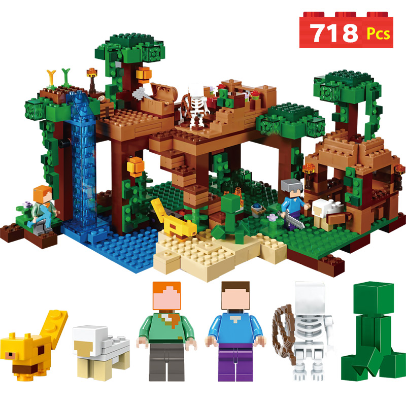 21138 Building Blocks Compatible LegoINGLYS Minecrafter The Jungle Tree House Eductional Technic Model Kit Children Toys lepin 18003 my world series the jungle tree house model building blocks set compatible original 21125 mini toys for children