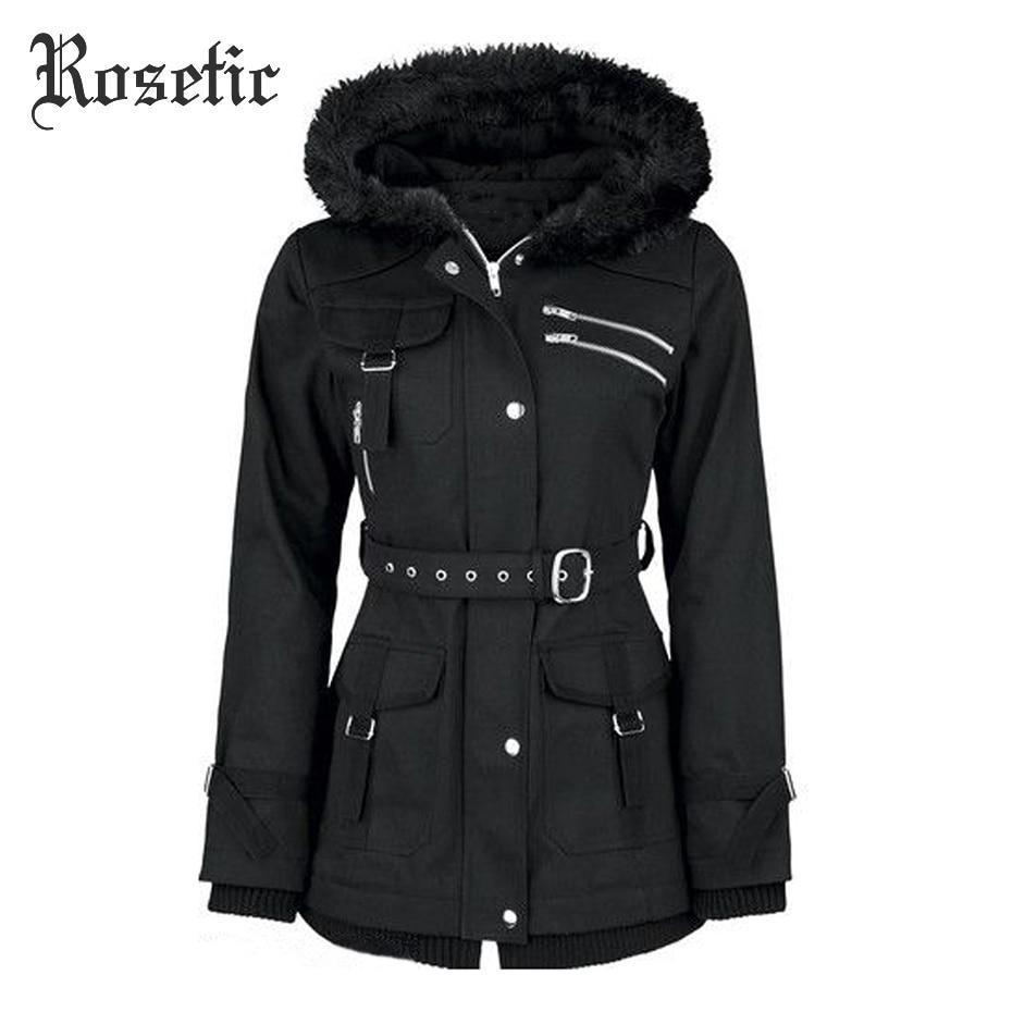 Rosetic Gothic Coat Women Black Winter Hooded Zipper Belt Mountaineering Velvet Overcoat Casual Fashion Goth Female Coat Winter