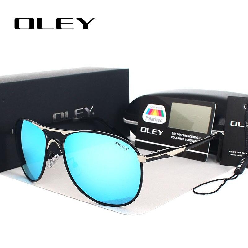 OLEY, роскошные Брендовые мужские солнцезащитные очки для вождения, поляризационные, для женщин, пилота, солнцезащитные очки с синим покрытие...