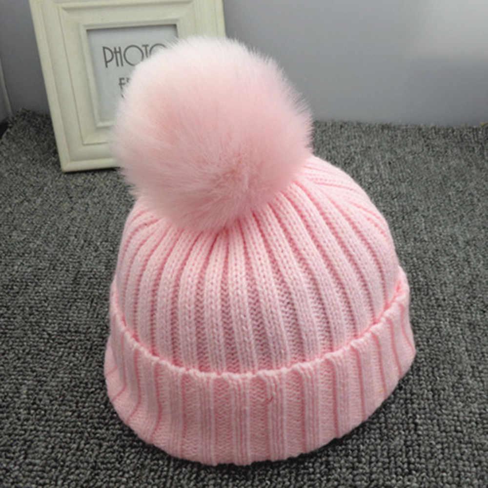 cc7dbf269258b2 Winter Baby Beanies Knit cute Hat Girls Warm Hat Natural Fur Ball Pom Pom  Cap For