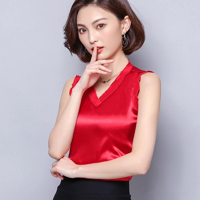 Sexy Top Shirts Tank-Tops Spring V-Neck Lace Office Female Summer News Solid Wear Lady