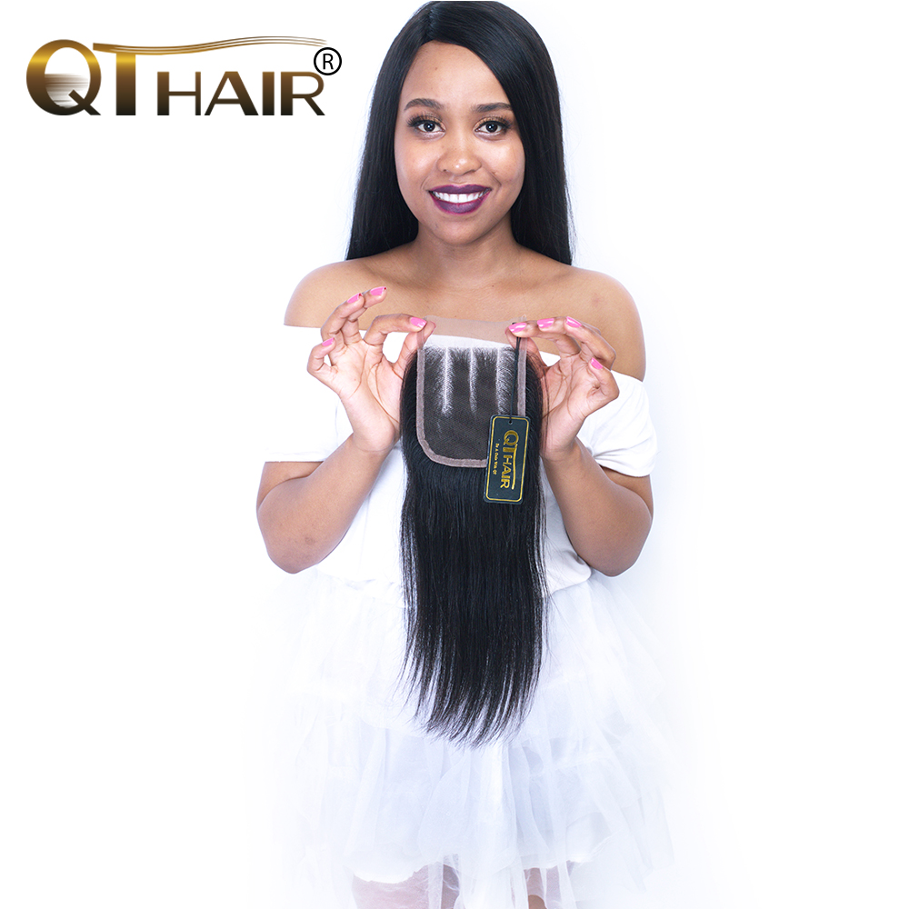 QThair Remy Malaysian Straight Hair Closure With Baby Hair 4x4 Three Part Lace Closure Can Match