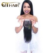 QThair Remy Malaysian Straight Hair Closure With Baby Hair 4×4 Three Part Lace Closure Can Match Hair Bundles Free Ship