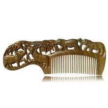 1 ШТ. Ручной Персик Деревянный гребень природного массаж головы щетка для волос уход за волосами 17.5 см * 6 см * 1 см CB011 звериный стиль тонкий зуб