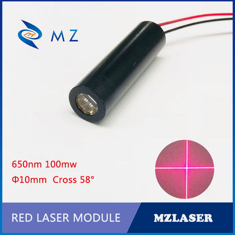 Red Cross Laser  10mm 650nm100mw High Power Red  Industrial ACC Drive Cross Red Laser Module