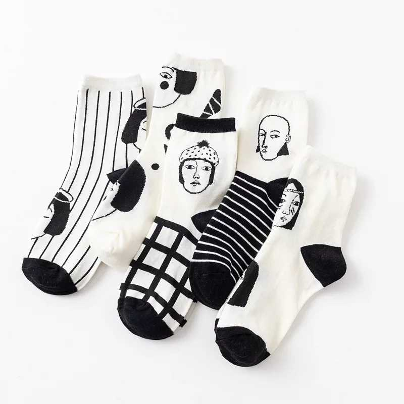 Funny Socks Women Cotton Cartoon Cute Sock Long Letter Harajuku Woman Sox Ladies Thick Black Striped Print Female Casual Style
