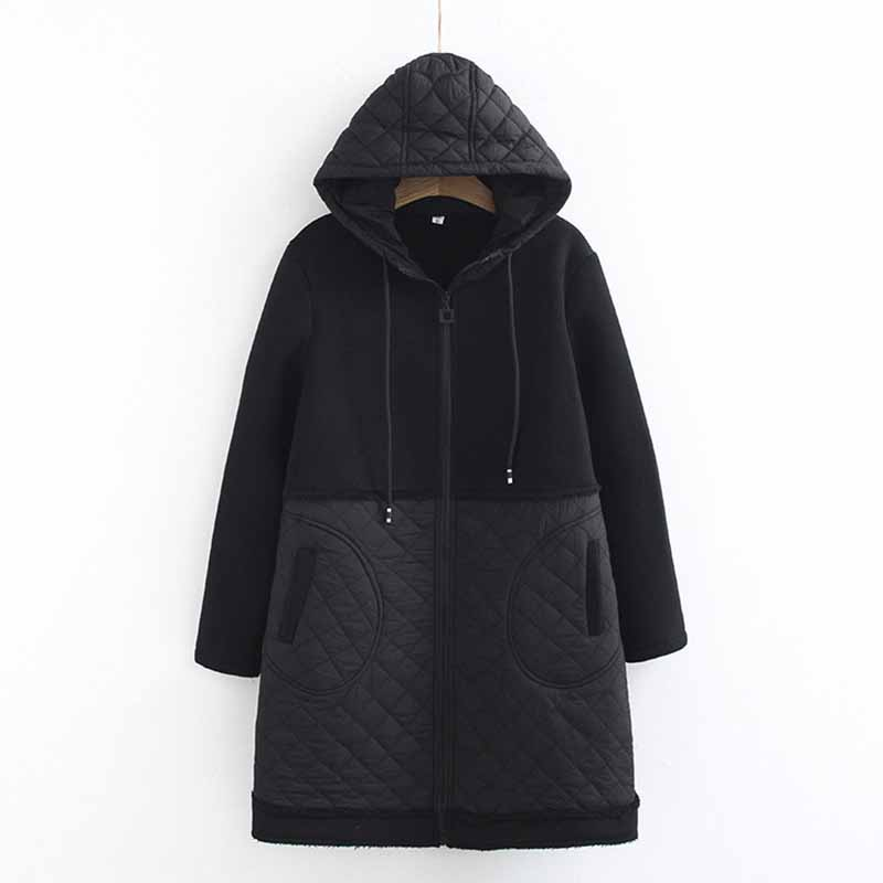 2019 Plus sizeXL-5XL Winter Cotton   Parkas   Women Hooded Splice Cotton-padded Jacket Female Black Warm Outerwear Long Coats G318