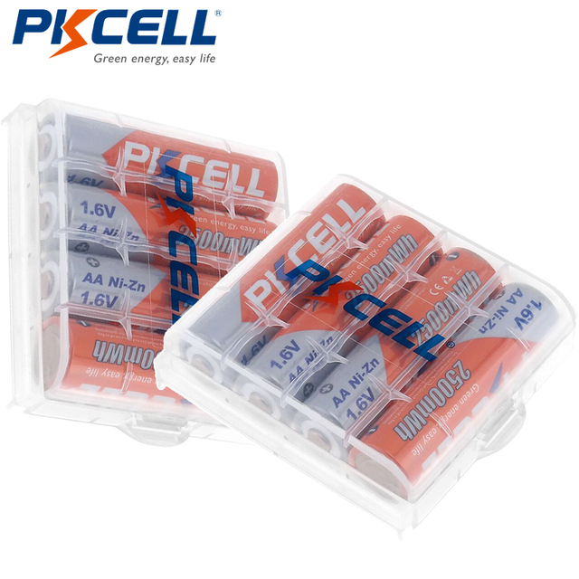 8Pcs/PKCELL AA NIZN סוללה 1.6V 2500MWH AA נטענת סוללה 2A סוללות Baterias Bateria 2Pcs AA סוללה להחזיק מקרה תיבה