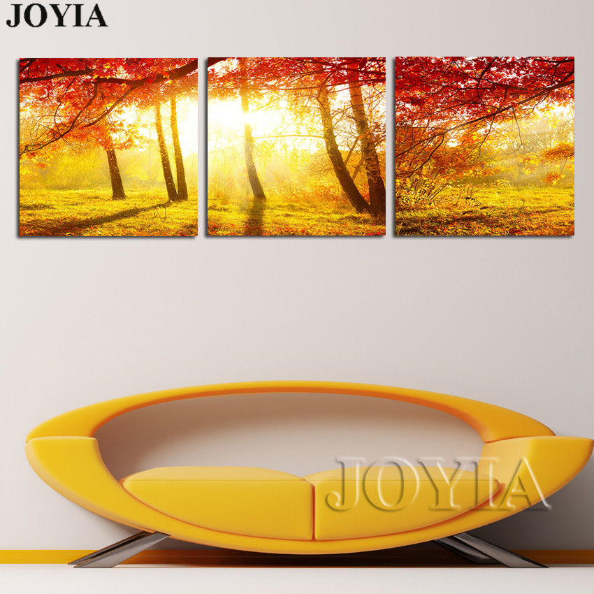 Forest Morning Sunshine Wall Art Canvas 3 Pieces Golden Birch Trees ...