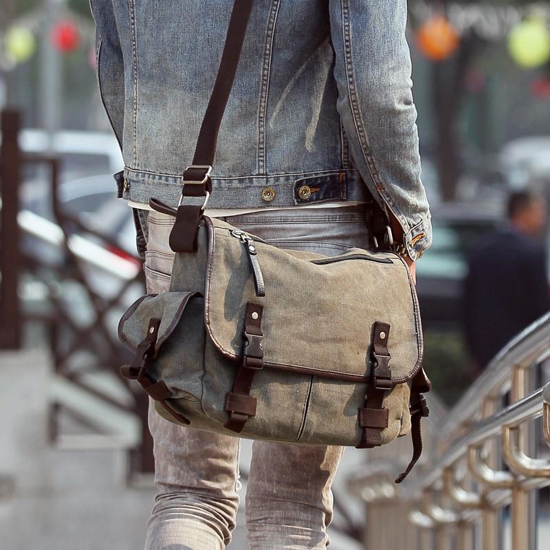 Burminsa Causal Canvas Men Messenger Bags Multi-Pockets Satchel 14inch Laptop Bags Work Shoulder Bags Teenagers School Bags 2019Burminsa Causal Canvas Men Messenger Bags Multi-Pockets Satchel 14inch Laptop Bags Work Shoulder Bags Teenagers School Bags 2019