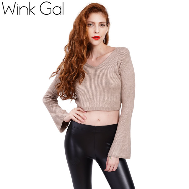 21b29f2d6f Wink Gal Womens Fall Fashion Sexy High Waist Short Crop Sweaters and  Pullovers Autumn Cropped Jumpers Sueter Feminino W10404