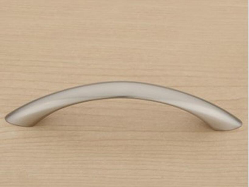 Satin Nickel Modern Simple Kitchen Cabinet Drawer Pull Handle Concealed Closet Door Knob( C:C:128MM L:149MM )