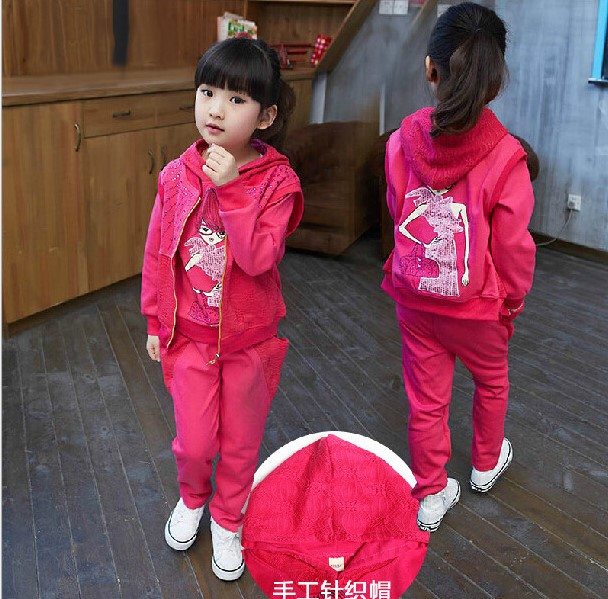 ФОТО FASHION 2016 spring & autumn girls cute character pattern hooded suit three piece  kids clothes 9-12-14 years old girl clothes