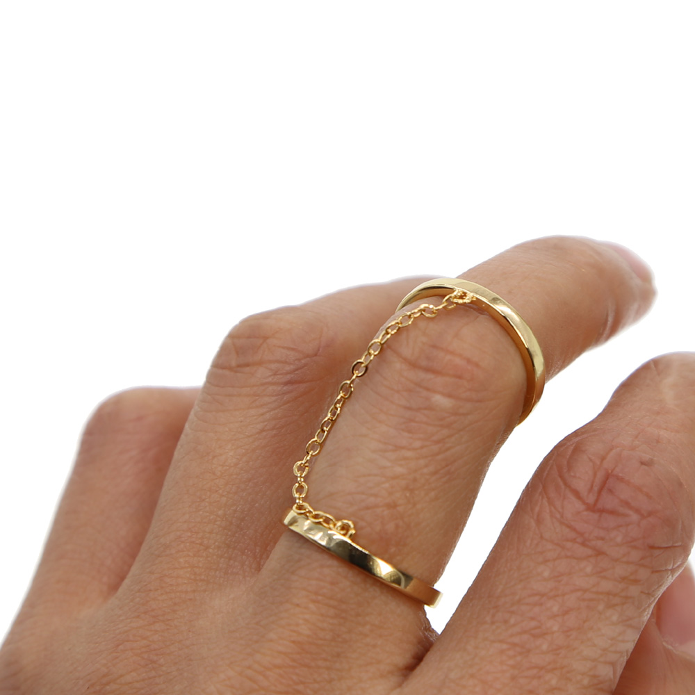 double finger high polished gold color band link chain fashion simple women lady full finger double ring
