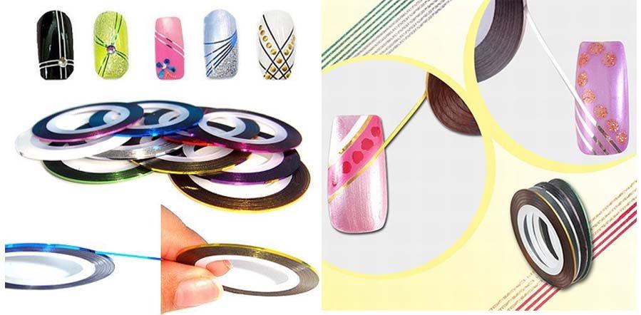 10 Цвета потрясающий смешанные Дизайн ногтей чередование линия клей Клейкие ленты металлик Пряжа украшения Стикеры 100 рулонов/серия
