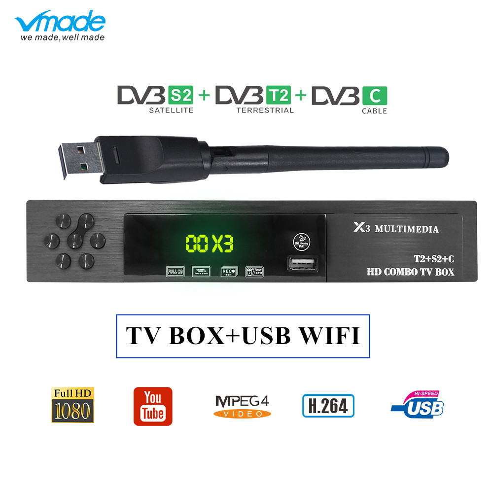 vmade X3 Combo dvb-t2 wifi receiver dvb-C dvb-S2 satellite powervu autoroll supports CS Protocol cccam AC3 Wifi Iks Tv