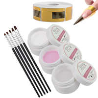 All For Gel Extension Glue Set Manicure Pink White Clear UV Gel Nail With Practical Nail Paper Tray Tools