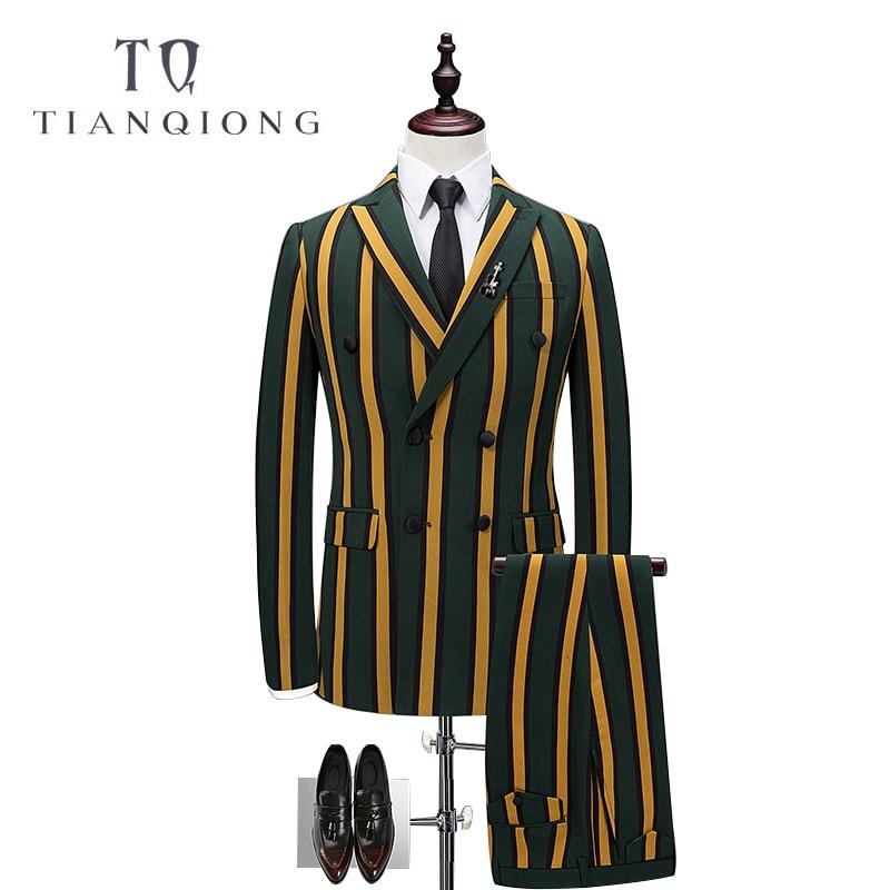 TIAN QIONG  Vertical Stripes 3 Piece Suit Men Korean Fashion Business Mens Suits Designers 2018 Slim Fit Wedding Suits For Men