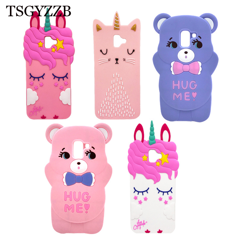 3D Cute Cartoon Animal Beard Cat Pink Unicorn Case For Samsung Galaxy J6 Plus 2018 J6Plus J610 Horse Bear Cover Mobile Phone Bag in Fitted Cases from Cellphones Telecommunications