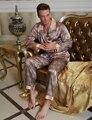 2017 Мода Геометрические Мужчин Пижамы Повседневная Кнопка Полный Рукав Pijamas Имитация Шелка Пижамы отложным Воротником Ночное 20506