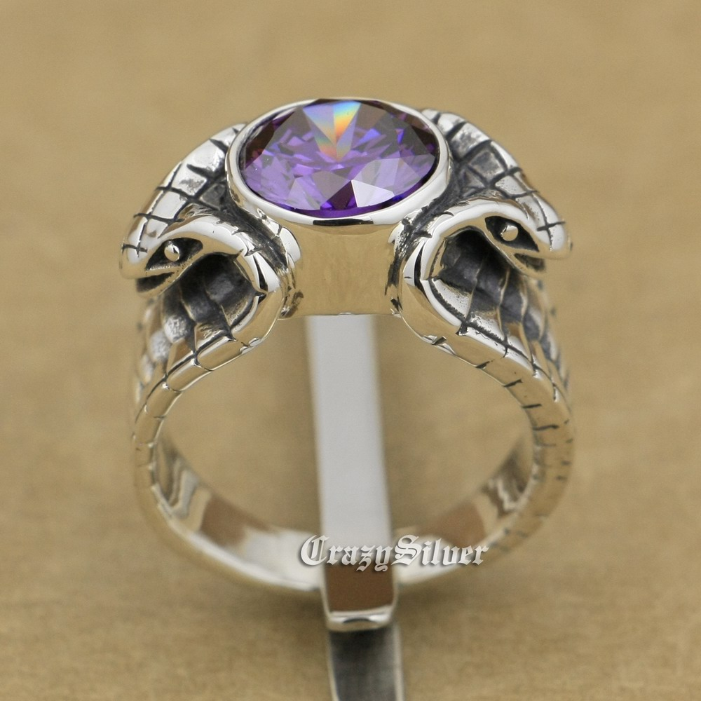 crystal Purple CZ 925 Sterling Silver King Cobra Snake Ring 9K033 US Size 7.5 to 13 футболка blind snake in the grass purple