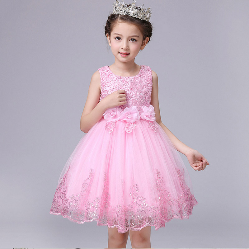 Girls Dress Pink white Bow Wedding Birthday Party Kids Clothes 2017 Summer 3 Flower Rapunzel Princess Dresses 2 4 8 10 years old sunny fashion girls dress birthday cupcake polka dot birthday princess 2018 summer wedding party dresses kids clothes size 3 8