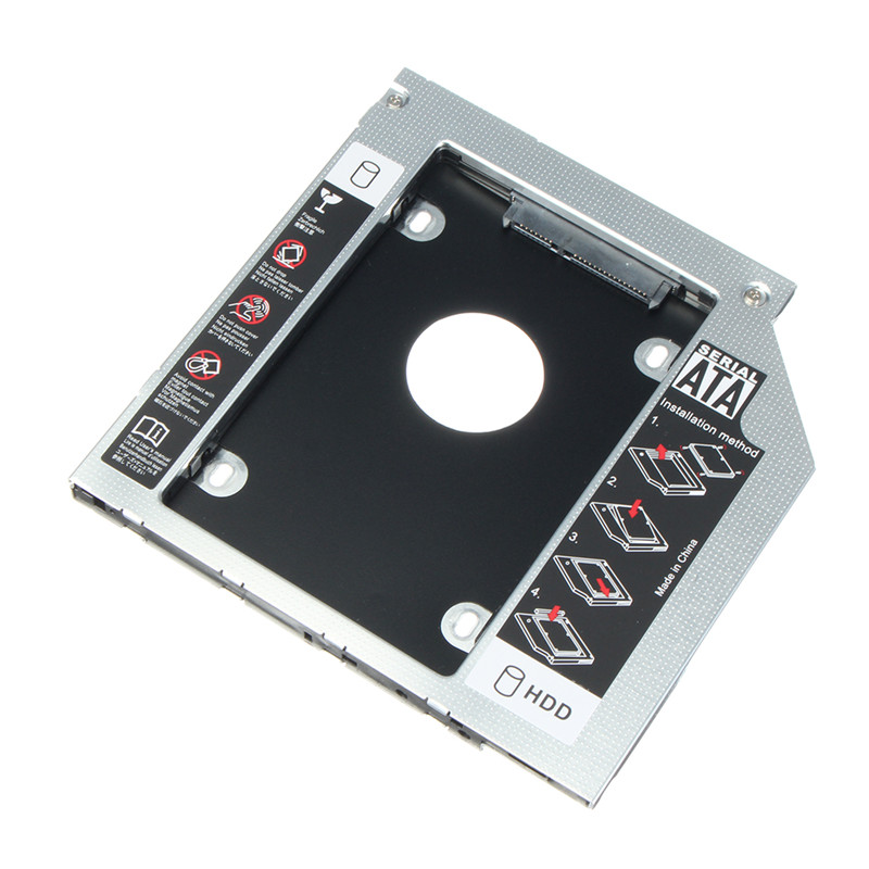Universal SATA to SATA 2nd SSD Case Hard Drive Enclosure 12.7mm Aluminum HDD Caddy For Notebook CD/DVD-ROM Optical Bay