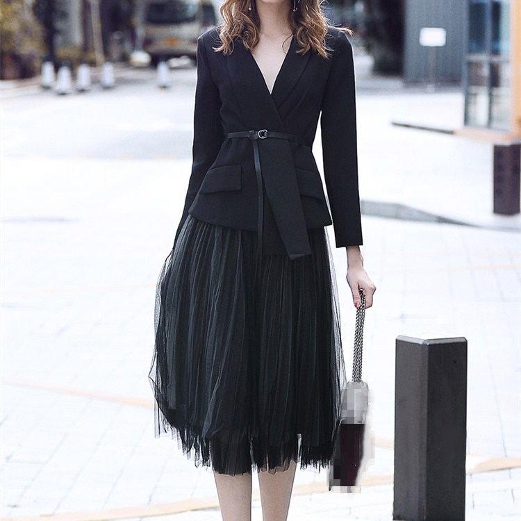 Autumn Gauze Skirt Suits Women Asymmetrical Black Two Piece Sets Pockets Casual Sashes Long Sleeve Blazer Suits