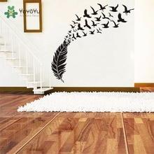 YOYOYU Wall Decal Vinyl Art Decor Sticker Removable Birds Flying Feather DIY Room Decoration Home Mural YO455