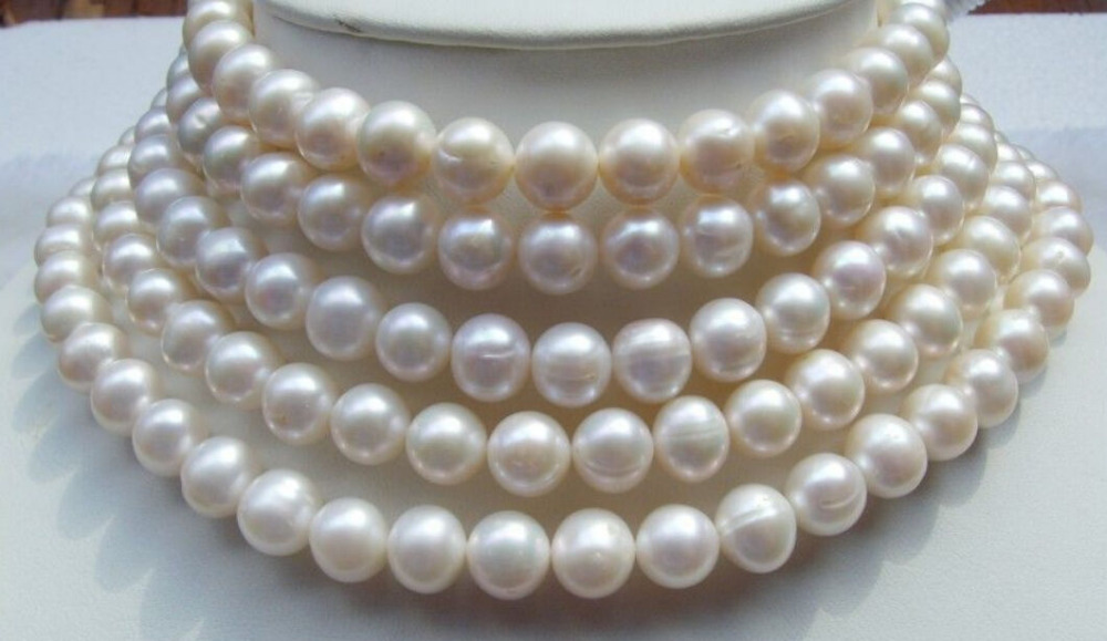 Free Shipping >>>>>new Gold Clasp AA++ 9-10MM WHITE Freshwater culture PEARL NECKLACE 65 недорого