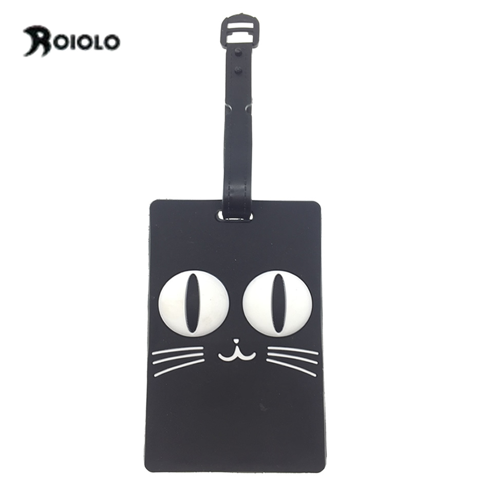 Silica Gel Cats Luggage Tags Travel Accessories PVC Soft Plastic Holder Straps Portable Label Etichetta Valigia Label Viaje