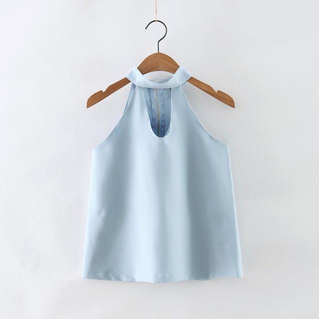 Nova Verão Mulheres Halter Strap Shirt Sem Mangas Sexy Oco Out Curto Camisa Ropa Mujer Blusas Femininas Tops