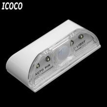 ICOCO 1pcs 4 LED PIR Infrared Detection Motion Sensor Home Door Keyhole Light Lamp Beads for Door Stairway Bedroom Hallway Sale