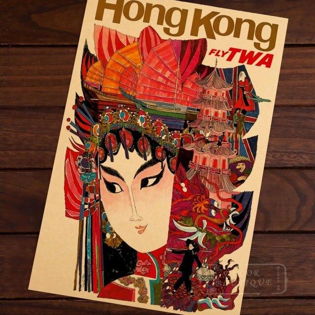 Hong Kong TWA Airline Travel Landscape Vintage Retro Poster ...