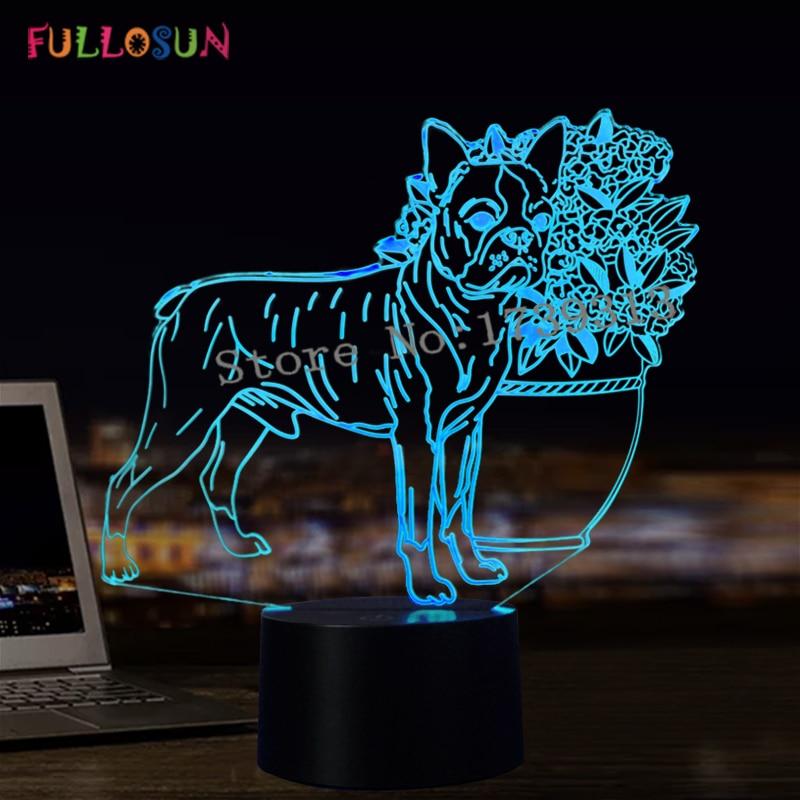 3D 개 LED 테이블 램프 USB 야간 조명 7 색 3D 환상 조명 - 야간 등
