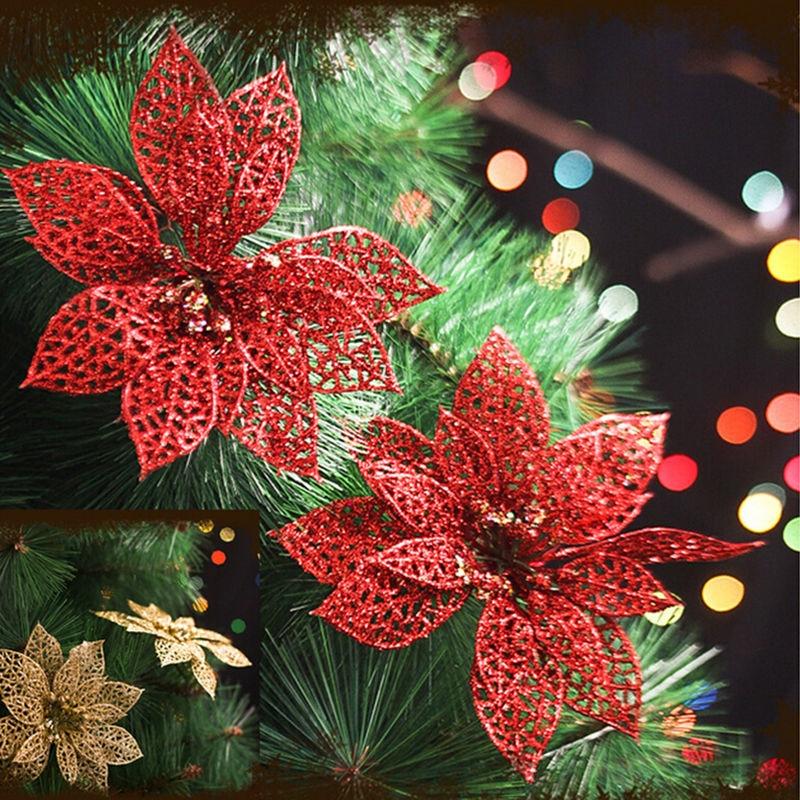"Newest Christmas Decorations 2013: 1Pc 6"" Christmas Flowers Xmas Tree Decorations Glitter"