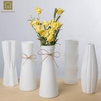 White Ceramic Vase Artificial Flowers Vase Crafts Decor Arts Geometry Vase Porcelain Gift Wedding Household Decoration QAB090