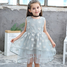 цена на Girls Dress 2019 Summer Lace Sleeveless Tutu Dress Kids Princess Party Girls Clothes Baby Girls Dress 3 4 5 6 7 8 9 10 Years