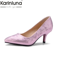 KarinLuna Women S Spiked Heels Pointed Toe Less Platform Party Wedding Office Pump Shoes Woman Plus