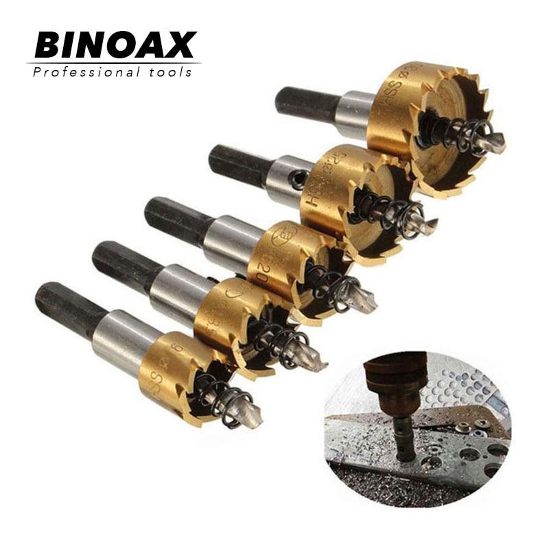 BINOAX 5 buc Tip carbură HSS Ferăstrău ferăstrău Set metalic Instrument de tăiere a găurilor de foraj din lemn pentru instalarea încuietorilor 16 / 18.5 / 20/25 / 30mm