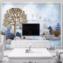 Modern minimalist three-dimensional wealth tree TV background professional production wallpaper murals custom photo