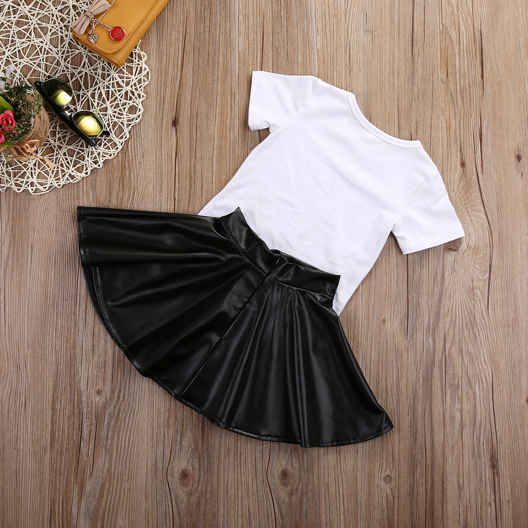 17 New Fashion Toddler Kids Girl Clothes Set Summer Short Sleeve Mini Boss T-shirt Tops + Leather Skirt 2PCS Outfit Child Suit 7